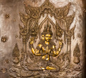 Thai art stucco on the wall of church Stock Image