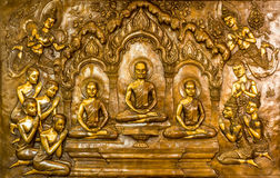 Thai art stucco on the wall of church Royalty Free Stock Photos