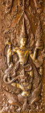 Thai art stucco on the wall of church Royalty Free Stock Photography