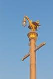 Thai art style light pole under blue sky Royalty Free Stock Image