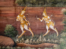 Thai art style Painted on a Temple Wall Royalty Free Stock Photography