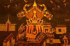 Thai  Art Style Painting. Thai Art Style Painting on old temple wall in Thailand Royalty Free Stock Photography