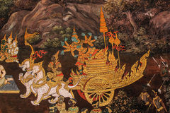 Thai art wall painting Stock Photo