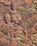 Thai art on the wall at public temple at Thailand Stock Photo