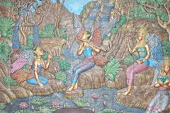Thai art on wall tile of toilet from fuel station Rayong province Thailand. We can found this wall tile and similar in some of fuel station Royalty Free Stock Images