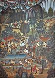 Thai Art Wall. In Wat Phumin (NAN District royalty free stock photography