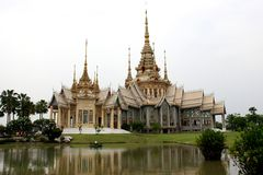 Thai Art White and golden Tample Stock Photo