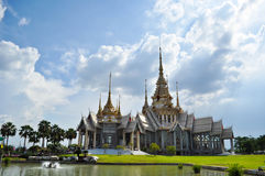 Thai art white temple Royalty Free Stock Photography