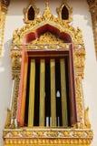Thai art windows in temple Royalty Free Stock Photo