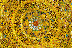 Thai Art Woodcraft With Gold Paint. Stock Photo