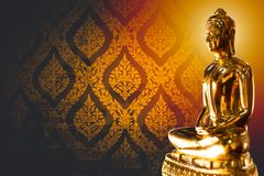 Thai asian golden buddha with space for text royalty free stock image