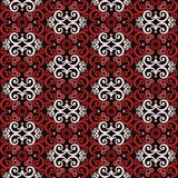 Thai asian traditional seamless pattern. Black red and white vector Vector Illustration
