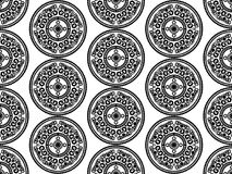 Thai asian traditional seamless pattern. Black and white vector Stock Illustration