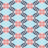 Thai asian traditional seamless pattern. White blue and red vector Stock Illustration
