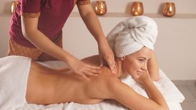 Thai back massage, chinese massage. stock video footage