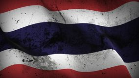 Thailand grunge dirty flag waving on wind. Thai background fullscreen grease flag blowing on wind. Realistic filth fabric texture on windy day Stock Photography