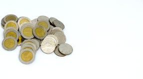Thai bad för mynt som isoleras på vit bakgrund Arkivbild