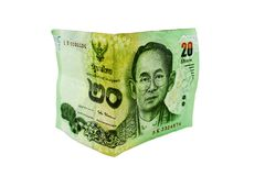 Thai 20 baht banknotes. Currency banknotes used in the laws of T. Hailand.Isolated on white background Stock Image