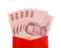 Thai Baht banknotes in red packet for Chinese New Year gift Royalty Free Stock Photos