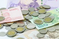 Thai Baht coin and banknote Stock Image