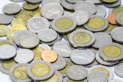 Thai Baht coin and banknote Stock Photo