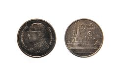 Thai 1 baht coin. Both sides of a Thai 1 baht coin isolated on white background stock photo