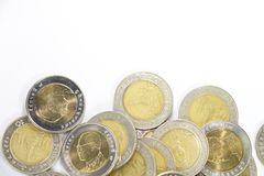 10 thai baht coin in group. On lower side for background Stock Photography
