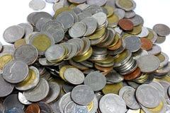 Thai Baht coins. Studio shot isolated on white background. Stock Photo