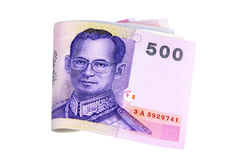 Thailand currency : Thai Baht money isolated on white background Stock Photos