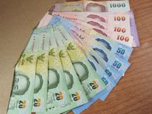 Thai Baht Money, Arranged Banknotes in Brown Envelope Royalty Free Stock Photography