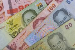 Thai baht money of Thailand banknote closeup. Thai baht money of Thailand banknote close up cash bath currency finance bill rama 9 investment banking financial stock photo