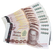 Thai Baht thousand bills spread out. Isolated on white background Stock Image