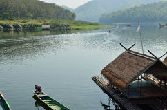 Thai bamboo floating on lake Stock Images