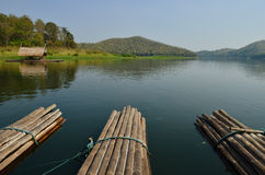 Thai bamboo floating on lake Stock Photography