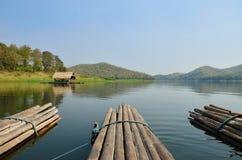 Thai bamboo floating on lake Stock Photo