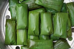 Thai bananas with sticky rice Royalty Free Stock Images