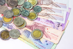 Thai bank note and coins Stock Image