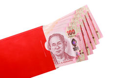 Thai bank note in red envelope for Chinese new year gift Stock Photos