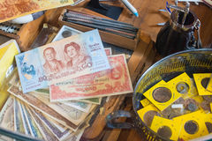 Thai bank notes and coins collection. The Thai bank notes and coins collection Royalty Free Stock Images