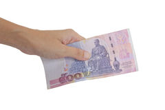 Thai Banknote. Thai Banknote 500 Baht In Hand Isolated On White Background Royalty Free Stock Photo
