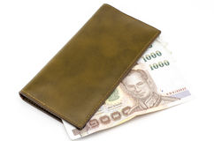 Thai banknote in brown wallet Stock Images