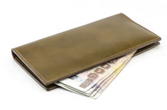 Thai banknote in brown wallet Stock Image