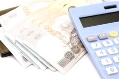 Thai banknote with calculator Royalty Free Stock Photography