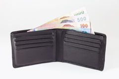 Thai banknote and open wallet Royalty Free Stock Photos