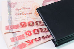 Thai banknote in pocket Stock Photo