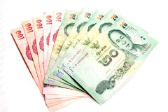 Thai banknote. Twenty and hundred color Thai banknote Royalty Free Stock Images