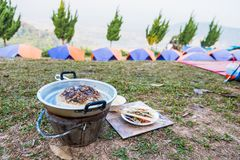 Thai barbecue Grill Pork It was yesterday& x27;s food.Camping day.Thailand. Adventure background barbeque bbq buffet campsite chopsticks cook cooked cooking stock images