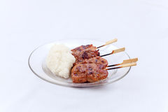 Thai barbecue with rice stick Stock Image