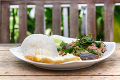 Thai basil pork with rice Royalty Free Stock Images