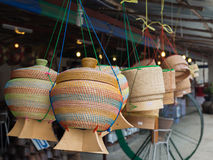 Thai basketwork made from bamboo. Thai basketwork(sticky rice box) made from bamboo Royalty Free Stock Photo
